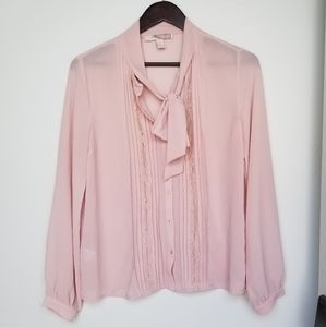 3/$33 Forever 21 long sleeve pink blouse w lace S
